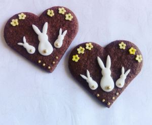 Easter biscuits - Easter bunnies yellow flowers