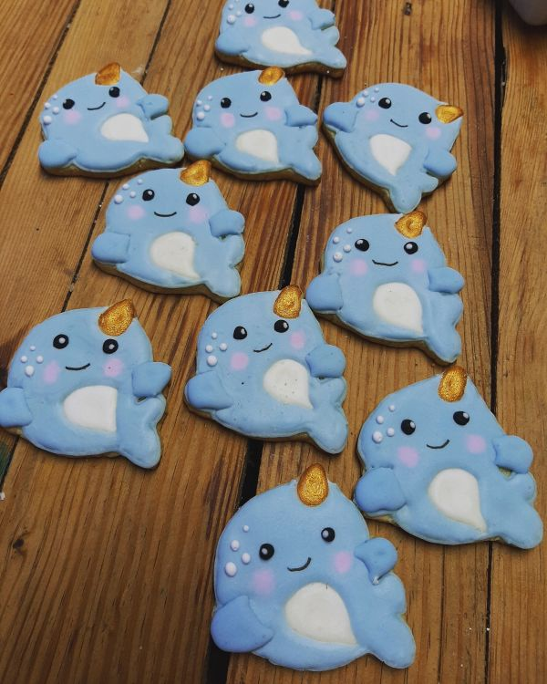 Narwhal birthday biscuits