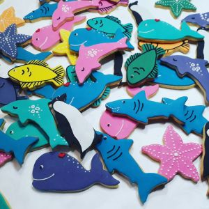Sharks, dolphins, whales starfish, fish 300